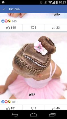 Peinadospeinado de niña in 2020 Natural Hairstyles For Kids, Little Girl Hairstyles, Cute Hairstyles, Braided Hairstyles, Wedding Hairstyles, Natural Hair Styles, Short Hair Styles, Gymnastics Hair, Girl Hair Dos