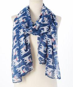 Bubbly Bows Navy Blue Cats Scarf | zulily