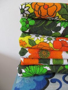 Vintage retro towelling fabrics