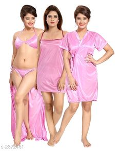 Satin Nightdress: Free COD Trendy Women's Satin Nightdress Vol 1 Fabric: Satin Sleeves: Variable (Check P. Satin Dresses, Prom Dresses, Formal Dresses, Wedding Dresses, Pink Outfits, Dress Outfits, Indian Beauty Saree, All Nature, Babydoll Lingerie