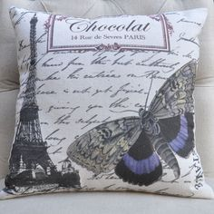 Decorative Pillow Cover, Butterfly Pillow, Throw Pillow, Shabby Chic Pillow Cover, French Pillow, Burlap Pillow Cover