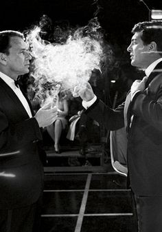 "Frank Sinatra & Dean Martin on an NBC set. 'Smokin', 1962 // Photo from the book ""The Rat Pack"" by Reel Art Press."