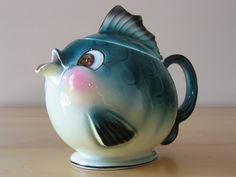 Vintage Norcrest Anthropomorphic Happy Fish Teapot - Made in Japan. $69.98, via Etsy.