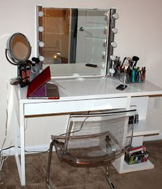 diy vanity area on pinterest makeup storage  vanities lucite floating wall shelves lucite wall mounted shelves