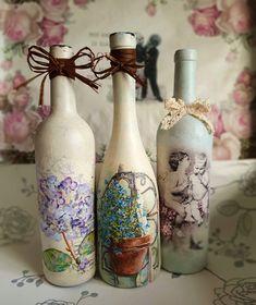 Handmade Home, Bottle Crafts, Decoupage, Bottles, Home Decor, Decorated Bottles, Decoration Home, Room Decor, Home Interior Design