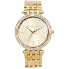 Michael Kors Darci Glitz Watch ($255) ❤ liked on Polyvore featuring jewelry, watches, accessories, bracelets, gold, thin dial watches, thin wrist watch, michael kors, snap button jewelry and water resistant watches