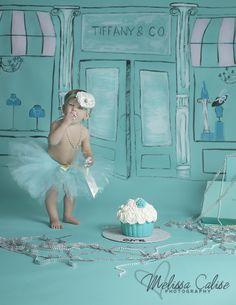 Melissa Calise Photography (Cake Smash Baby Girl Breakfast at Tiffany's Tiffany & Co Aqua Pearls Diamonds Ideas Photo Shoot Session)