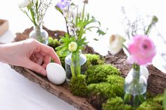 Make table decorations for Easter yourself - a spring-like arrangement on tree bark - - Easter Tree Decorations, Decoration Table, Easter Bunny Pictures, Summer Diy, Flower Crafts, Floral Arrangements, Tree Bark, Step Guide, Modern