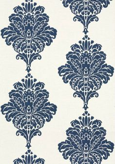 Arturo Damask #wallpaper and coordinating embroidered #fabric in Navy from the #Monterey Collection by #Thibaut