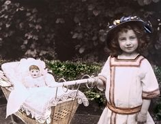 Beauty French Girl w Her Doll in Buggy Tinted Fine Art by Marianne Clancy of maclancy on Etsy