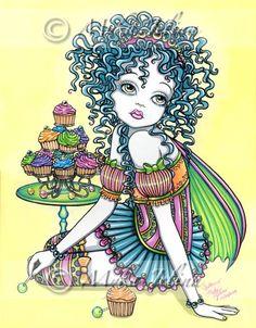 Buttercup Cup Cake Candy Rainbow hadas firmaron lámina por Myka Jelina
