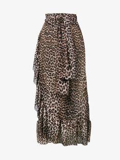 Ganni Peirce mesh leopard print skirt