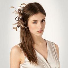 Debut Light brown loop & feather hair clip fascinator- at Debenhams.com
