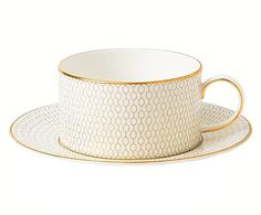 Set de taza de té con plato en porcelana Bone China Arris