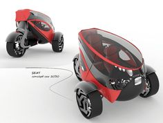 ♥ Seat ANT Concept Car for 2030 by Lolita Tinikashvili and Kristina Sazonova Reverse Trike, Best Hybrid Cars, Microcar, City Car, Futuristic Cars, Car Wheels, Bike Design, Electric Cars, T Rex