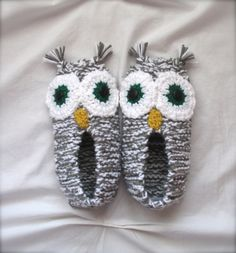 Owl Slippers Grey.White Hand Knit.Crocheted Family Ladies Mens Childrens Custom Eye Color. $27.00, via Etsy.