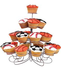 Have a ball #cupcake idea from @Wilton Cake Decorating! Use all #basketball toppers for a March viewing party :)