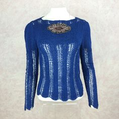 2000s BENDEL Royal Blue Open Weave Knit Pullover, NOS