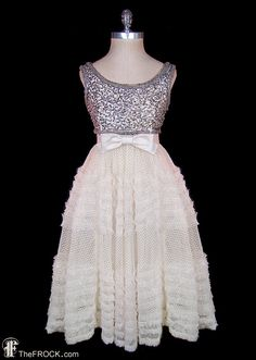 Norman Hartnell dress silver beaded & sequined tank ruffled