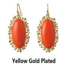 De Buman 18k Gold Plated Metal Created Red Coral Gemstone Earrings (18k