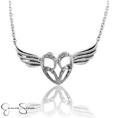 Part of the Jessica Simpson Fine Jewelry Collection, this stunning winged heart pendant showcases glittering white diamond accents.