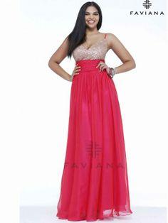Beautiful Chiffon Flowing A-line Plus Size Prom Dress