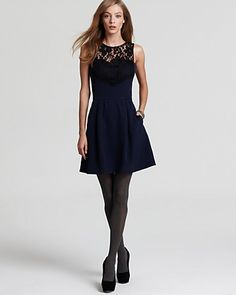 Shoshanna Dresses Navy Lace Patricia Clothing Fall Dresses Lace