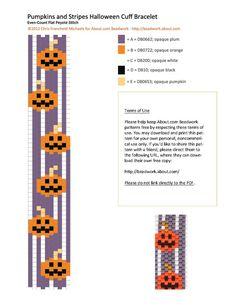 Halloween Pumpkins Peyote Stitch Cuff Bracelet Pattern: Pumpkins and Stripes Peyote Stitch Cuff Bracelet Pattern