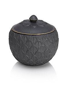 Black Large Scroll Ceramic Scented Candle
