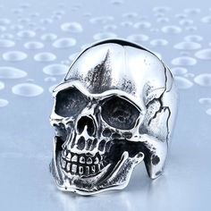 BEIER One Piece Sale Cool Punk Man's Skull Ring Stainless Steel Happy Crack Motorcycle Biker Man's Ring Super Quality BR8-347