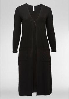 sheego Style Jerseymantel in offener Form – schwarz