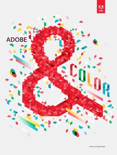 """To promote the launch of Adobe's new Creative Suite 5.5 Design Standard, we developed this illustration with the crew at Goodby, Silverstein & Partners. The idea of the campaign is that the latest Adobe edition is the perfect partner for every aspect of the design process. We were given the design aspect of ""Color"" and thus a visual party of isometric pantone chips and printers marks ensued."""