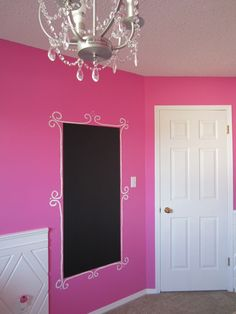 Like this idea. Kira wants a chalkboard wall but this is cute. A smaller area maybe even framed???           Chlo's room. Lighter pink maybe.. chandelier, chalk board wall.
