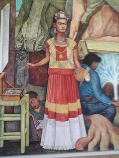 "Diego Rivera - Frida Kahlo (detail from ""Pan American Unity"" mural at City College of San Francisco Diego Rivera Art, Diego Rivera Frida Kahlo, Natalie Clifford Barney, Frida E Diego, Frida Art, Mural Painting, Mural Art, Encaustic Painting, Munier"