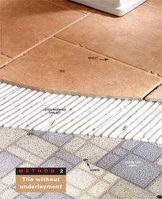 How to tile a bathroom floor over vinyl flooring