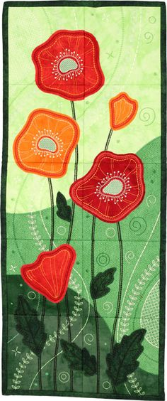Fresh Poppies Tiling Scene machine embroidery