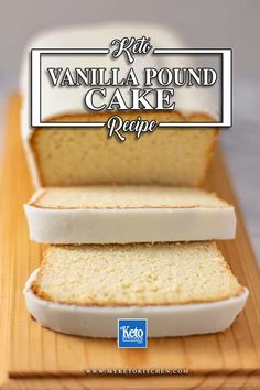 Keto Vanilla Pound Cake Recipe Moist Crumbly SugarFree This easy gluten free cake recipe is perfect for dessert morning or afternoon tea Its buttery and soft with a smo. Vanilla Pound Cake Recipe, Pound Cake Recipes, Pie Recipes, Gluten Free Pound Cake, Low Carb Desserts, Low Carb Recipes, Dessert Recipes, Dessert Healthy, Low Carb Cakes