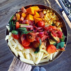 ti-bacio:   pasta, corn penne tossed through fresh lemon juice and cracked pepper, really chunky vegetable and tomato pasta sauce, oil free roasted sweet potato and pumpkin, roasted corn.