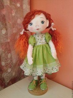 Купить Кукла Люсенька - ярко-зелёный, кукла ручной работы, кукла, текстильная кукла
