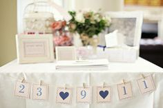Great idea for table at entrance of reception or for use as gift table idea.