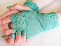 Bridesmaid accessory : Aqua fingerless lace Gloves   We Should Definitely Do This Look For The Wedding!! LOL