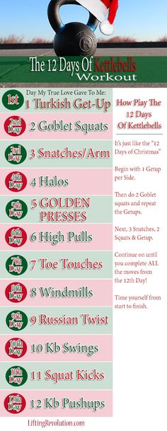 12 kettlebell exercises to sculpt your whole body. Next time you workout, try this fun holiday themed kettlebell workout!