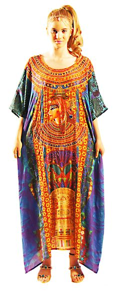 "Kaftan with affirmation written on pure silk fabric  ""I Am the Great One"""
