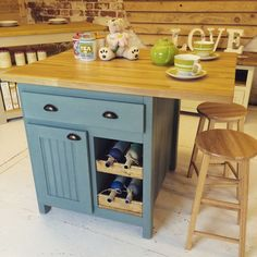 Bespoke Handmade To Order Oak Top Kitchen Island/Breakfast Bar With Stools