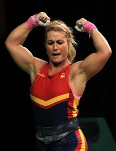 Lidia Valentin Perez of Spain celebrates during the Weightlifting - Women's 75kg Group A on Day 7 of the Rio 2016 Olympic Games at Riocentro - Pavilion 2 on August 12, 2016 in Rio de Janeiro, Brazil.