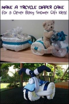 Attending a baby shower but can't think of a nice gift to bring? Then make this adorable tricycle diaper cake!