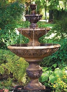 Water Wall Fountain, Backyard Water Fountains, Water Fountain Design, Outdoor Fountains, Fountain Garden, Concrete Fountains, Fountain Ideas, Pool Fountain, Modern Garden Design