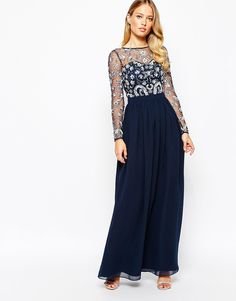 Image 1 ofFrock and Frill Heavily Embellished Maxi Dress With Long Sleeves