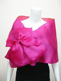 Wedding shawl satin scarf high fashionevening shawl by MinaMann Fashion Fabric, Skirt Fashion, Pink Fashion, Fashion Dresses, Fashion Tips, Filipiniana Dress, Bow Scarf, Evening Shawls, Wedding Shawl