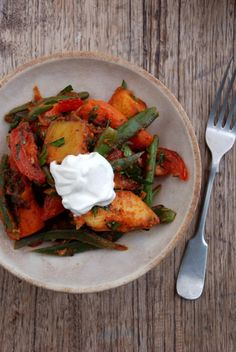 Sweet potato, green bean and smoked paprika salad. Add haloumi for a kick of calcium and deliciousness. This is my favourite salad ever. I usually leave the beans out.